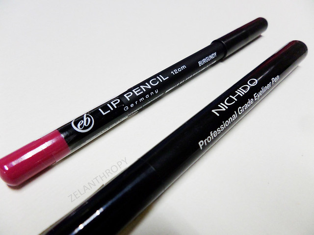 Ever Bilena lip liner and Nichido eye liner pen