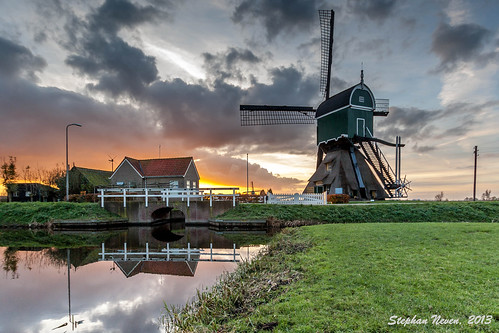 sunset reflection netherlands windmill zonsondergang molen krimpenerwaard schoonhoven bonrepas