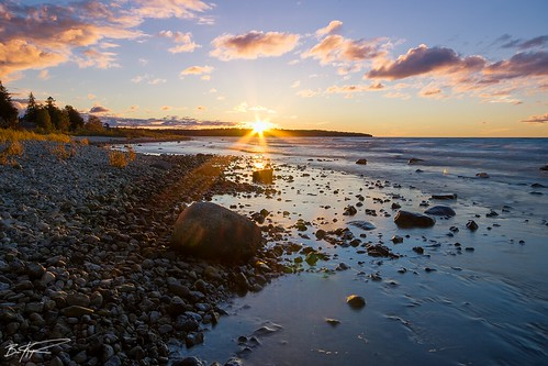 sunset lake beach water up rock stone mi america fort michigan north lakemichigan greatlakes sunburst polarizer mackinac puremichigan pentaxk5 briankoprowski bkoprowski