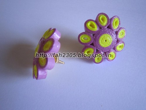 Handmade Jewelry - Paper Quilling Flower Stud Earrings (2) by fah2305