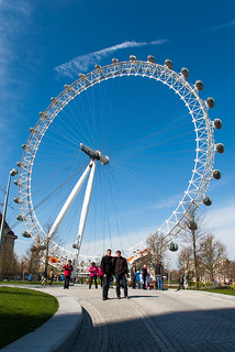 Devant la grande roue London Eye