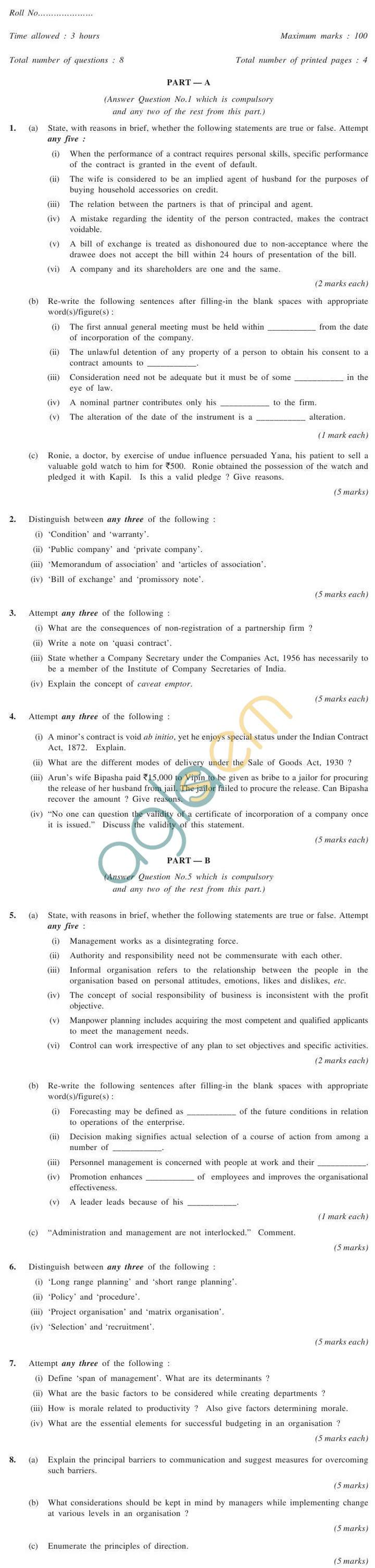 CS Foundation Question Papers Jun 2012 - Elements of Business Laws and Management