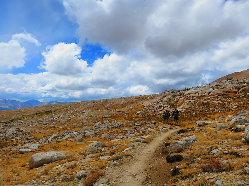 hiking across the barren plateau south of forester pass