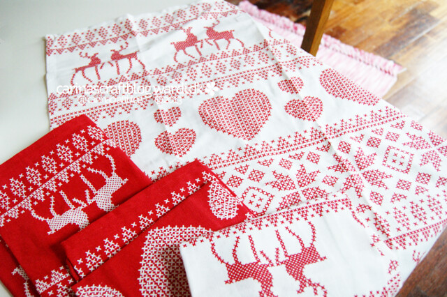 Festive tea towel cushions