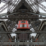 The elevator in the Eiffel Tower