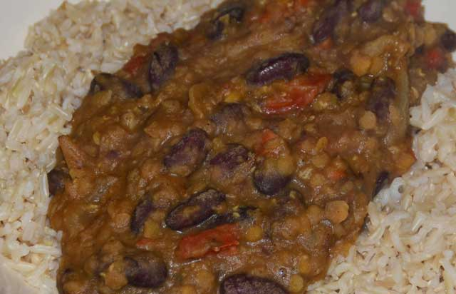 lentils and beans on a bed of rice
