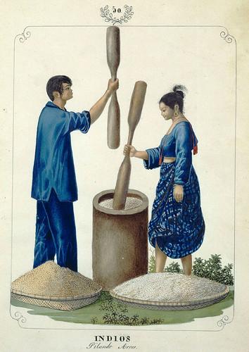 013-Indios Pilando Arroz-Vistas de las Yslas Filipinas y Trages…1847-J.H. Lozano- Biblioteca Digital Hispánica