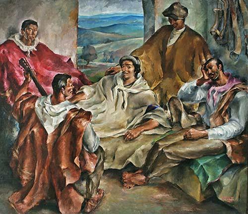 Enrique de Larrañaga,  Arrieros, 1935.  óleo sobre tela, 205 x 178 cm Col. Museo Sivori.
