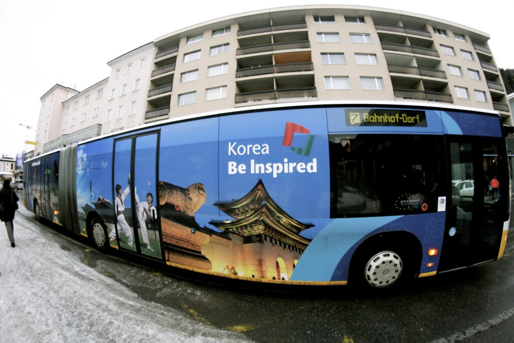 Even Korea has entered the game. This local bus advertises the country's traditional buildings and martial arts. Korea also hosted a 'Korea Night' on Tuesday night.