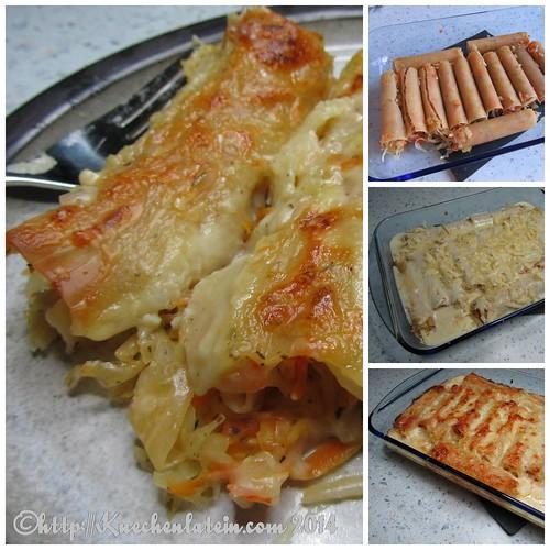 ©Canneloni mit Sauerkraut-Möhrenfüllung und Cheddar-Béchamelsoße Collage