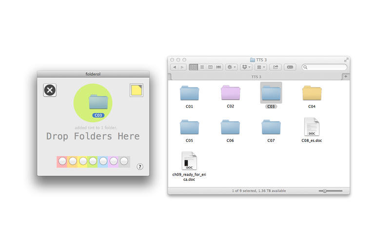 Folderol Colorizes Finder Folders With Drag'n'Drop