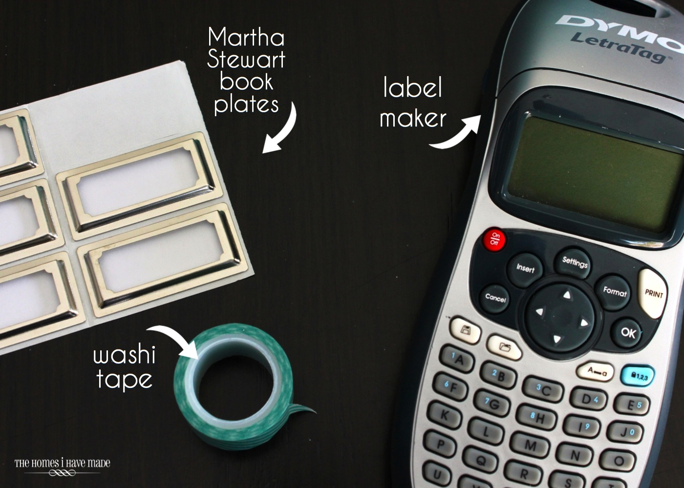 photos of products mentioned in this post: stick on book plates, washi tape and a label maker