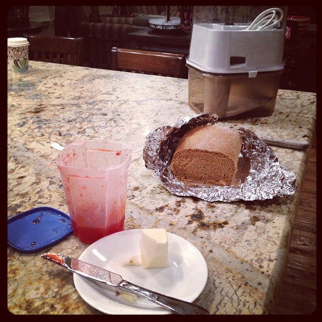 I have has this wheat grinder for a while. I always knew it would come in handy.  Today was the day!!!!  Someone finally borrowed it, used it, made bread, and shared it with me!!!!  So glad I had butter and homemade strawberry jam in the fridge.