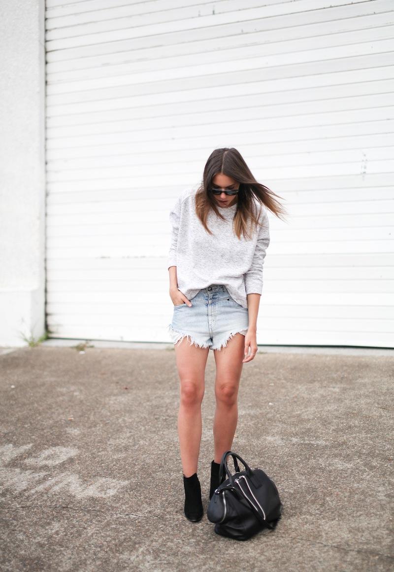 modern legacy fashion blogger Australia street style one teaspoon cutoff denim shorts heather grey sweatshirt suede ankle boots alexander wang jamie chastity bag  (4 of 10)