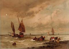 Almanach des Postes et des Télégraphes, registre 1887 - Quelques bateaux à voile et un canot rejoignent la plage