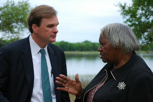 USDA Under Secretary Robert Bonnie listens to Mary Hill, a retired school superintendent and Center for Heirs' Property Preservation Sustainable Forestry Program participant. Hill owns more than 80 acres of land and timber in Berkeley County adjacent to the Francis Marion National Forest. Forest Service photo.