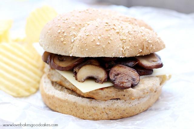 Mushroom & Swiss Turkey Burger close up.