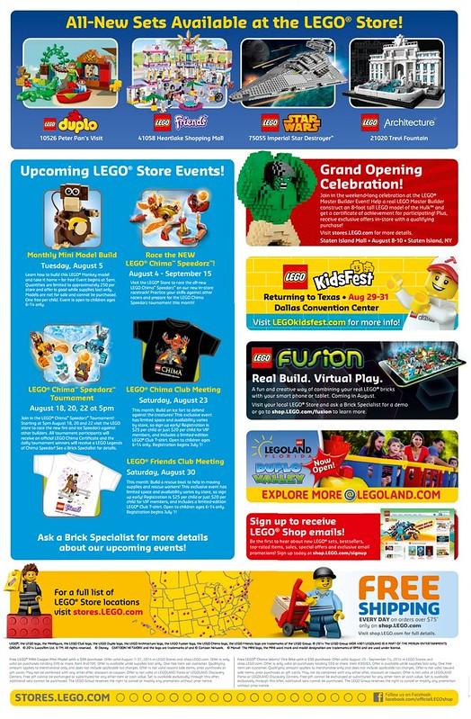 LEGO August 2014 Store Calendar