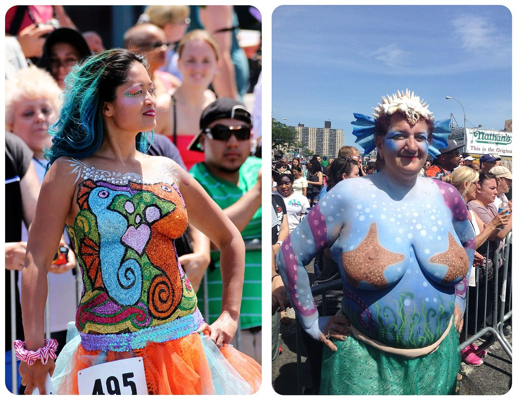 coney island mermaid parade bodypainting