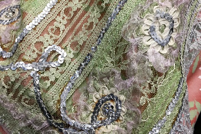 Detail of applique on a costume for Les Contes d'Hoffmann, The Royal Opera © Sarah Lenton