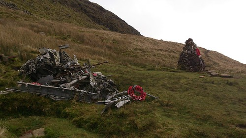 WWII Memorial for five Canadian Aircrew, by the Cwar y Gigfran, with heap of aircraft debris