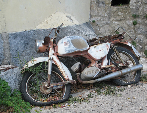 Old abandoned Sachs Engined two stroke motorcycle by davekpcv