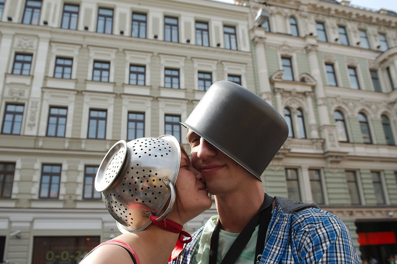 March of the pastafarians in St. Petersburg