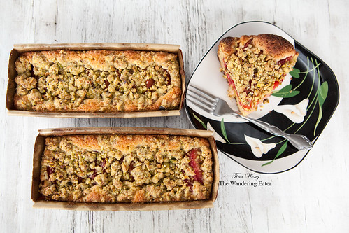 Homemade pluot pistachio streusel cake