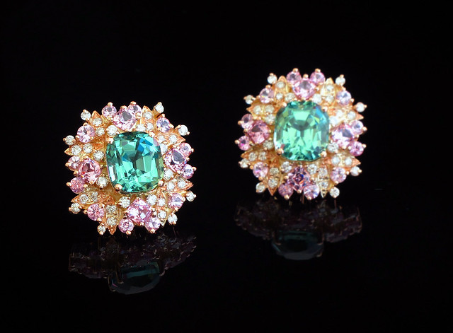 kristine dee earrings mint tourmaline diamonds and spinels