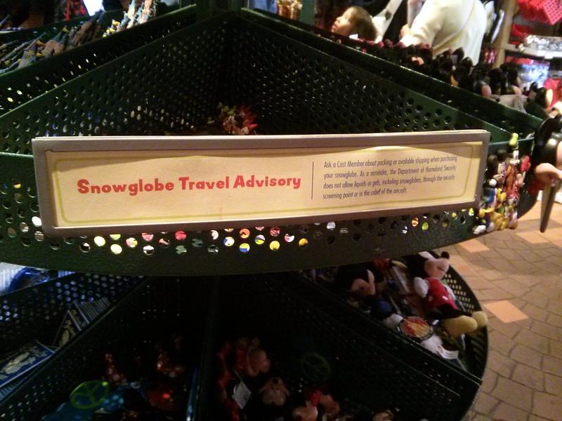 Snow-Globe Travel Advisory sign, Toontown, Disneyland, Anaheim, CA, USA