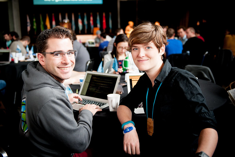 Aaron Parecki and Amber Case at Realtime Conf - Photo credit: Becca Blevins