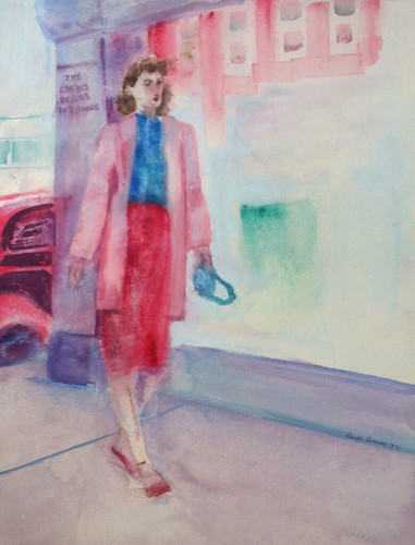 Mom Walking to Crews Beggs (Acrylic Water-Media) by randubnick