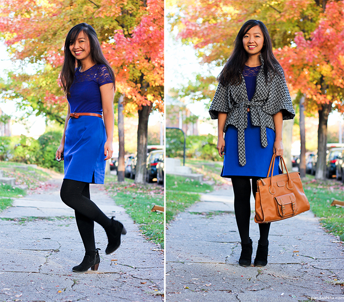 cobalt blue and chevron tweed for fall