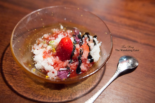 Course 15 - (Dessert) Lychee ice, strawberries, black garlic, shiso, strawberry sauce