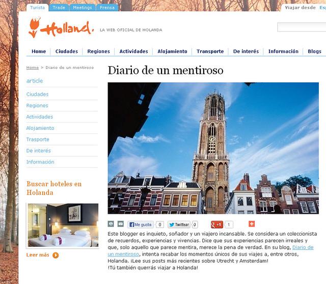 Diario de un Mentiroso, el blog de viajes, en la web de turismo de Holanda