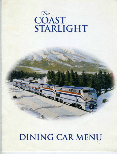 railroad travel menu amtrak coaststarlight