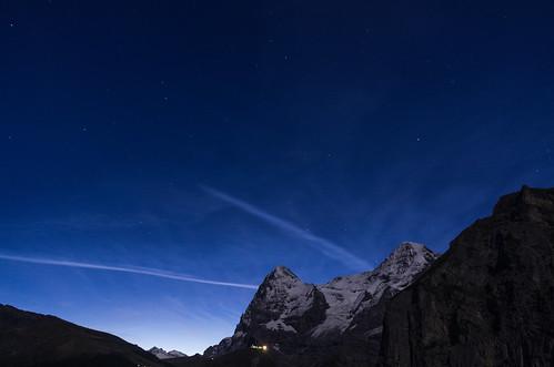 longexposure blue sky mountain snow alps night star switzerland contrail clear eiger swissalps monch mönch