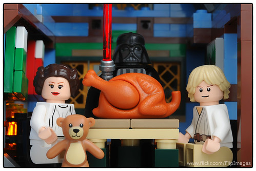 Skywalker Family Fun - Dad is about to cut the turkey.