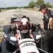 Juan Pablo Montoya slides into his car prior to testing at Sebring