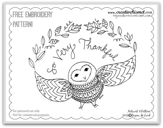 Free Embroidery Pattern - So Very Thankful Owl by Regina Lord
