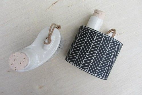 ebenotti Porcelain Herringbone Flask in Black or White, handmade for him art gift