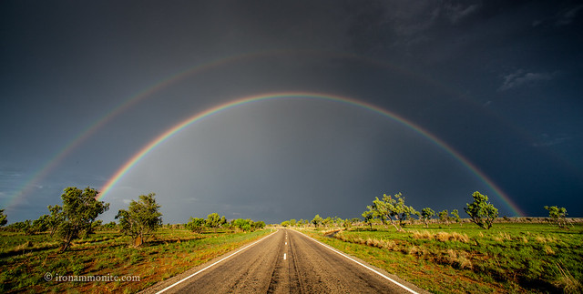 road, rainbow