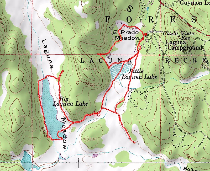 Delorme Topographic Map of Mount Laguna Campground and Laguna Lake