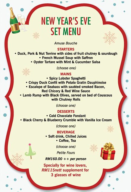 new year eve menu Mezze Bistro bar