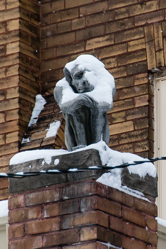 The gargoyle of Keewatin is not amused by the snow - #350/365 by PJMixer
