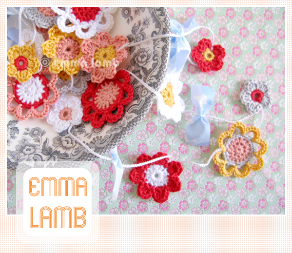 Emilia Flower Garland, crochet pattern by Emma Lamb