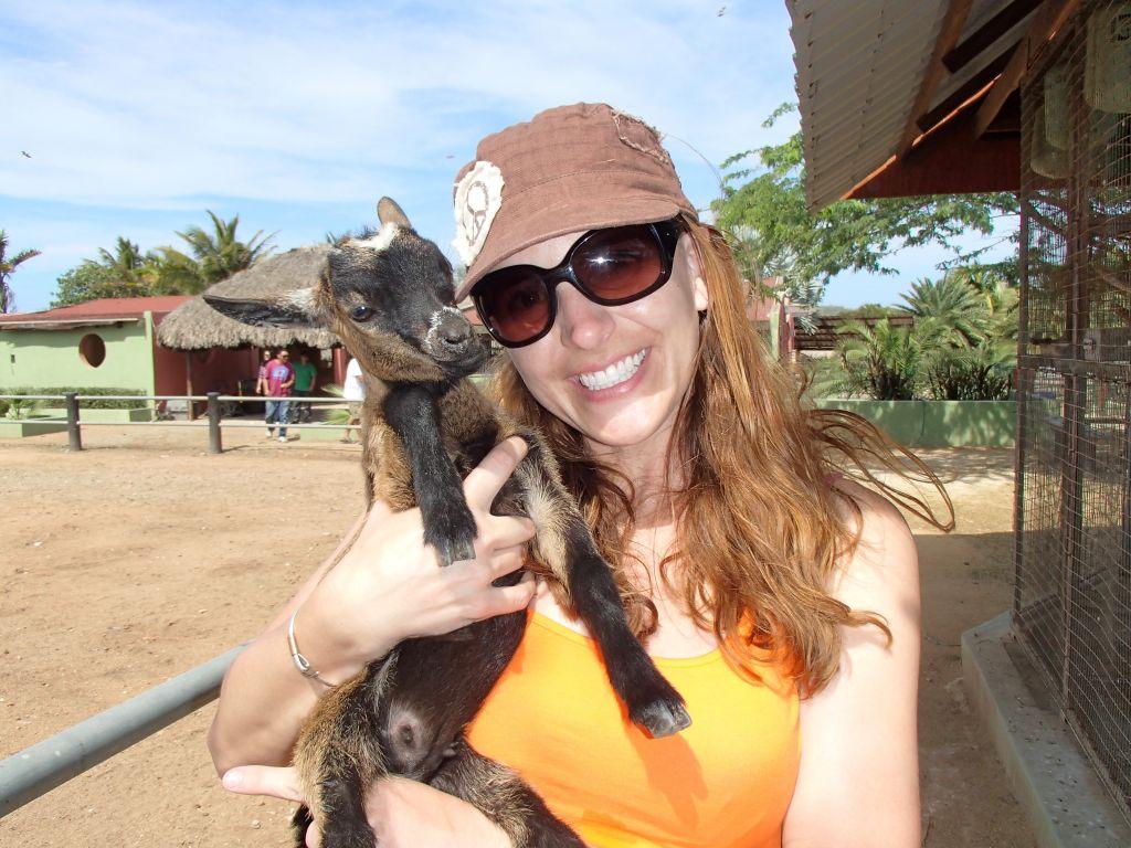 Melanie with goat