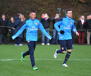 Alex Chamberlain and Carl Jenkinson of Arsenal