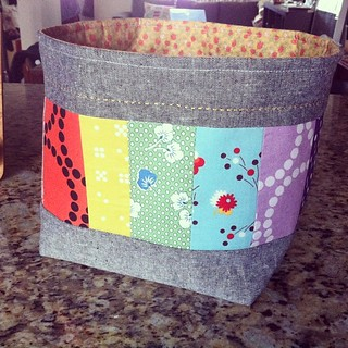 Too many bottles of vitamins on countertop?? Make a fabric basket!✌️ #fabricbasket #patchwork #fabricorganizer