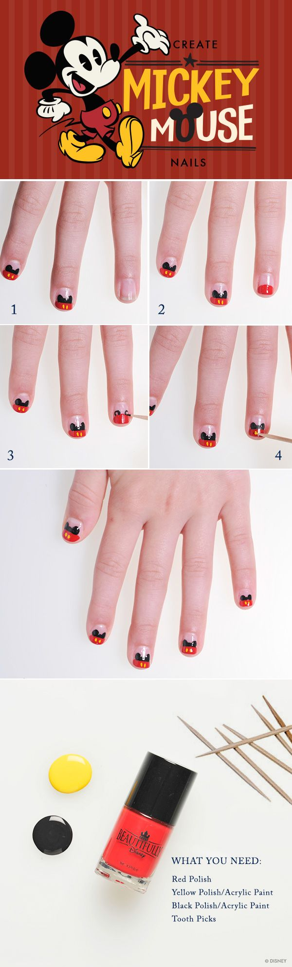 Mickey Red Pants Nails